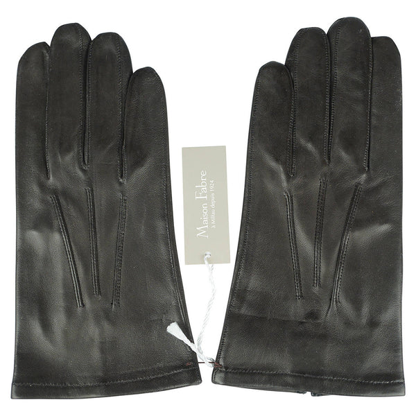 Unused Mens Black Leather Gloves Silk Lined Maison Fabre France NWT Size 9 1/2 - Poppy's Vintage Clothing