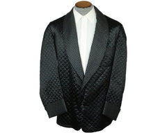Vintage Smoking Jacket 1950s Black Satin Quilted Mens Size L - Poppy's Vintage Clothing