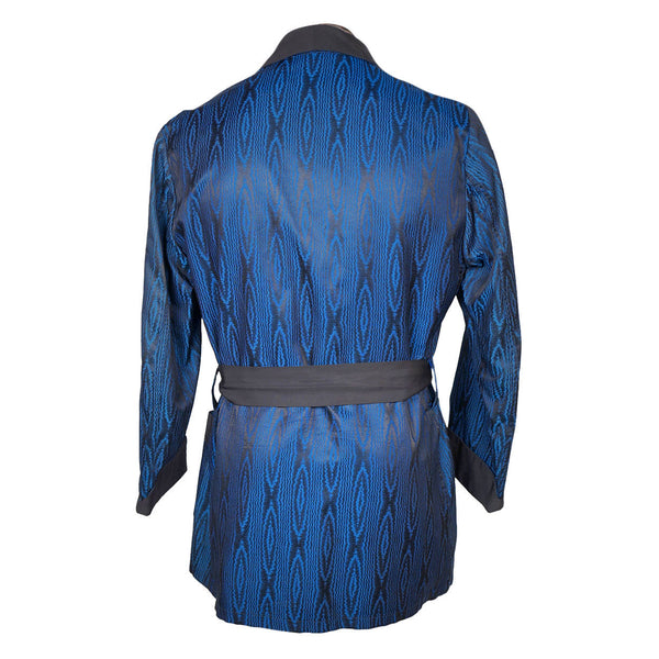 Vintage 1930/'s Blue Abstract Beacon Robe by Brent Belted Loungewear 30/'s Deco Unisex Adults Smoking Jacket