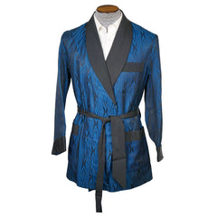 Vintage Majestic Smoking Jacket Robe Blue & Black Moire 1950s 60s Size M - Poppy's Vintage Clothing