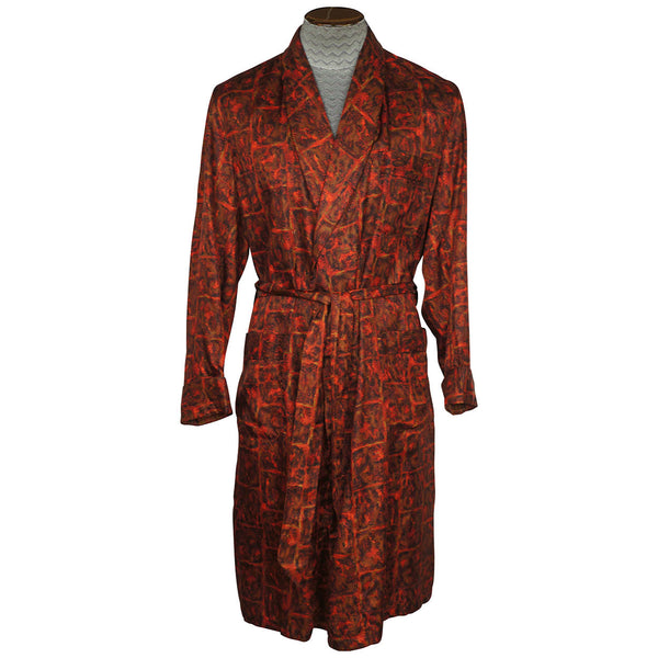 Vintage Mens Dressing Gown Lounging Robe Red Brown Black 1950s Majestic Medium - Poppy's Vintage Clothing