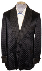 Vintage 50s Black Quilted Smoking Jacket by Majestic