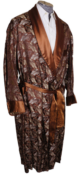 1950s Mens Fashion Dressing Gown Brocade Pattern Size Os X