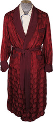 Vintage 50s Mens Dressing Gown Red Satin Leaf Pattern Lounging Robe Size M - Poppy's Vintage Clothing