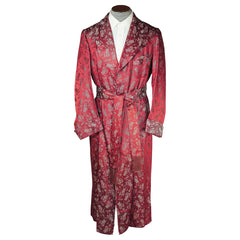 Vintage 1930s 40s Dressing Gown Sherlock Holmes Smoking Pipe Red Satin Mens M L - Poppy's Vintage Clothing