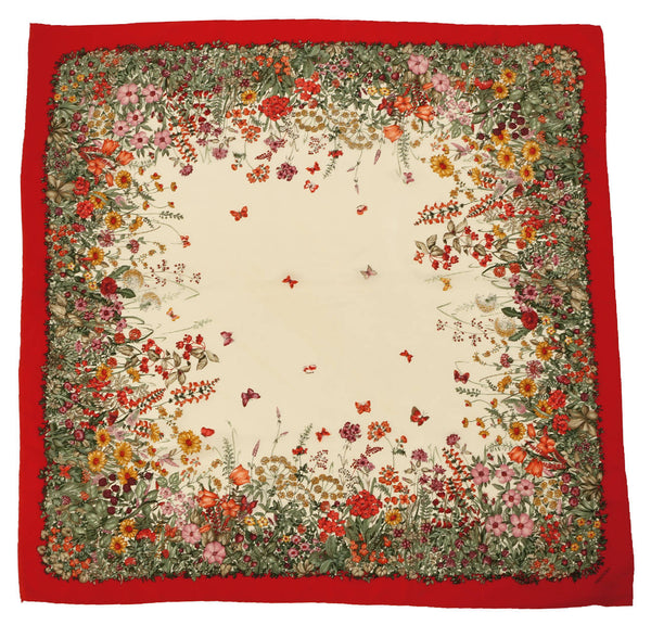 Vintage Mantero Silk Scarf Butterflies & Flowers Made in Italy 34.5 - Poppy's Vintage Clothing