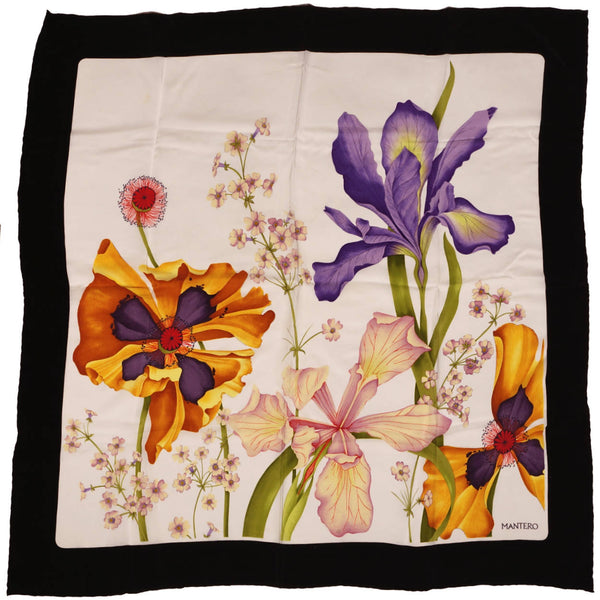 "Vintage Mantero Silk Scarf Iris Flowers Made in Italy 34.5"" - Poppy's Vintage Clothing"