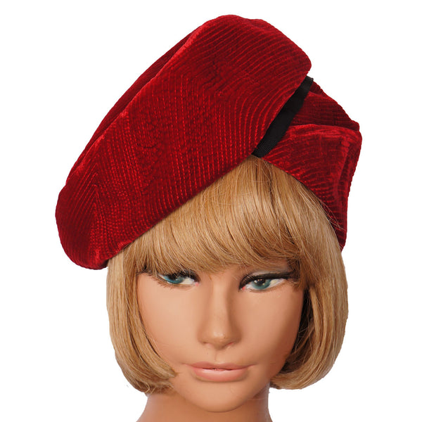 Vintage French Velvet Towering Beret Hat Marcelle Georges Paris Ladies Size S / M - Poppy's Vintage Clothing