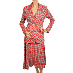 Vintage 1960s Plaid Wool Suit by Margaret Godfrey for Bagatelle Size S - Poppy's Vintage Clothing
