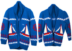 SOLD  - Vintage Mary Maxim Cowichan Sweaters for Father & Son Sailing Time Boat Pattern - Poppy's Vintage Clothing