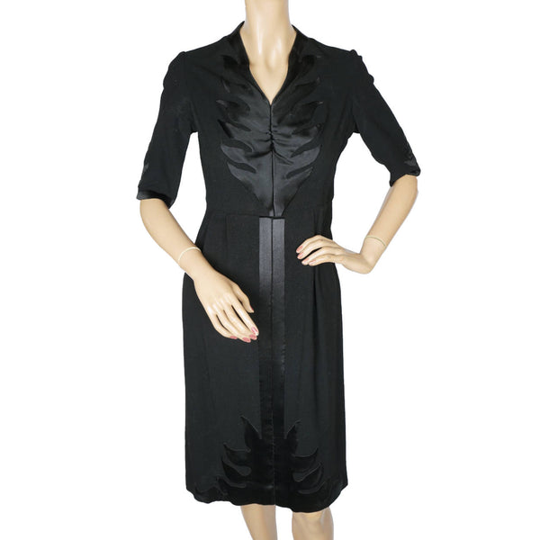 Vintage 1940s Egyptian Cocktail Dress Black Wool Crepe and Silk - S - Poppy's Vintage Clothing