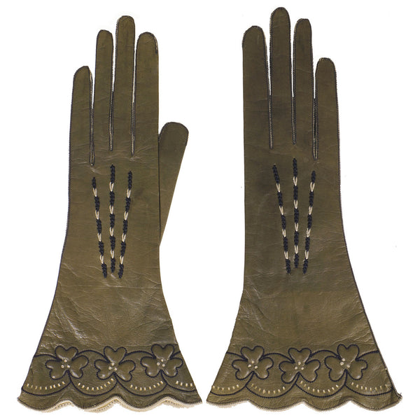 Vintage 1920s Olive Green Leather Gloves - 6 - Poppy's Vintage Clothing