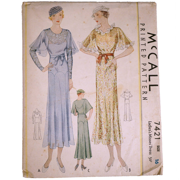 Vintage 1933 McCall Printed Pattern Ladies Dress 7421 Complete Size 16 - Poppy's Vintage Clothing