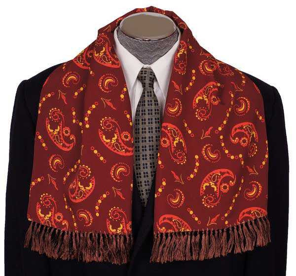 Vintage Mens Fringed Scarf Maroon Brown with Paisley Pattern 1940s Foulard