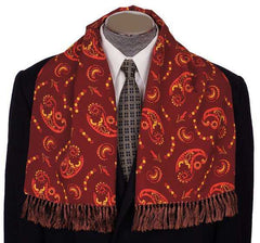 Vintage Mens Fringed Scarf Maroon Brown with Paisley Pattern 1940s Foulard - Poppy's Vintage Clothing