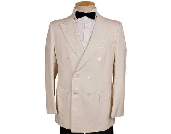 Vintage 1970s White Dinner Jacket - Gillio Paris -Size M - Poppy's Vintage Clothing