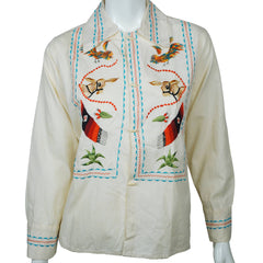 Vintage 1950s 60s Mexican Tourist Shirt Embroidered Donkey Serape Rooster Unisex - Poppy's Vintage Clothing