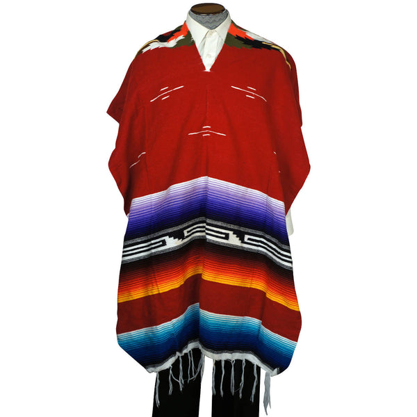 Vintage 1960s Mexican Poncho Saltillo Serape Striped Cotton Blanket Unisex - Poppy's Vintage Clothing
