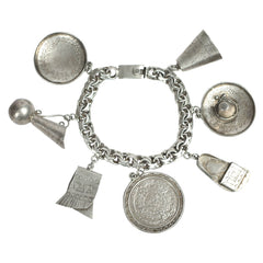 Vintage Mexican Sterling Silver 7 Charm Bracelet Rosi Beguden Mexico City 1950s - Poppy's Vintage Clothing