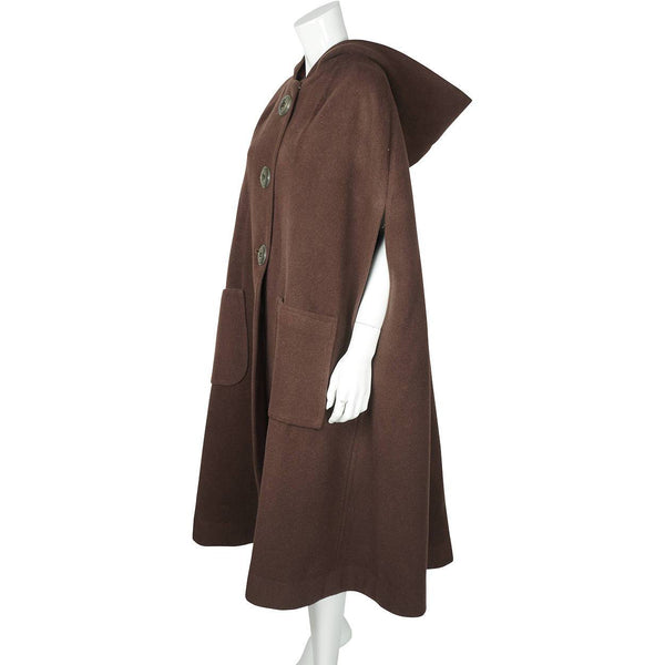 Vintage 1960s Brown Wool Cape or Cloak with Hood Hand Made by Mignonne Corbo - Poppy's Vintage Clothing