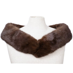 Vintage Mink Fur Collar or Scarf Mahogany Brown Neck Wrap 37 Inch by 4 Inch - Poppy's Vintage Clothing
