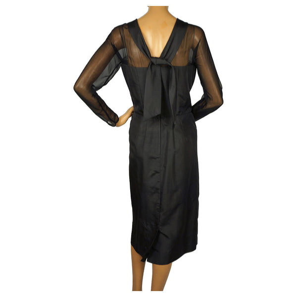 Vintage 1950s Black Silk Cocktail Dress Miss KK Toronto A Size Not An Age Size L - Poppy's Vintage Clothing