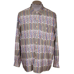 Vintage 1970s Missoni for Bergdorf Goodman Shirt Woven Zigzag Pattern Mens XL - Poppy's Vintage Clothing