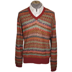 Vintage Missoni Mens Knit Pullover Sweater Multicolour Stripe Size L Tall - Poppy's Vintage Clothing