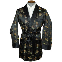 Vintage Smoking Jacket Men 1950s Asian Short Satin Robe M - Poppy's Vintage Clothing