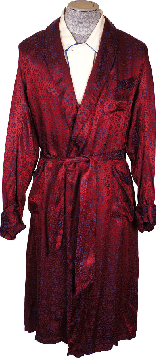 Vintage 50s Mens Dressing Gown Crimson Red Satin by Mister Ease - L