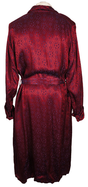 Vintage 50s Mens Dressing Gown Crimson Red Satin By Mister
