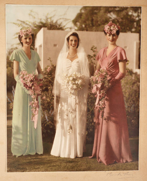 Vintage 1940s Australian Monte Luke Wedding Photo Hand Coloured Photograph Bride - Poppy's Vintage Clothing