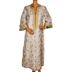 Vintage Moroccan Couture Caftan Dress by Designer Naima Bennis 60s Brocade Size M - Poppy's Vintage Clothing
