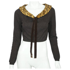 Moschino Cheap and Chic Sweater Cropped Cardigan w Leopard Print Collar M Italy - Poppy's Vintage Clothing