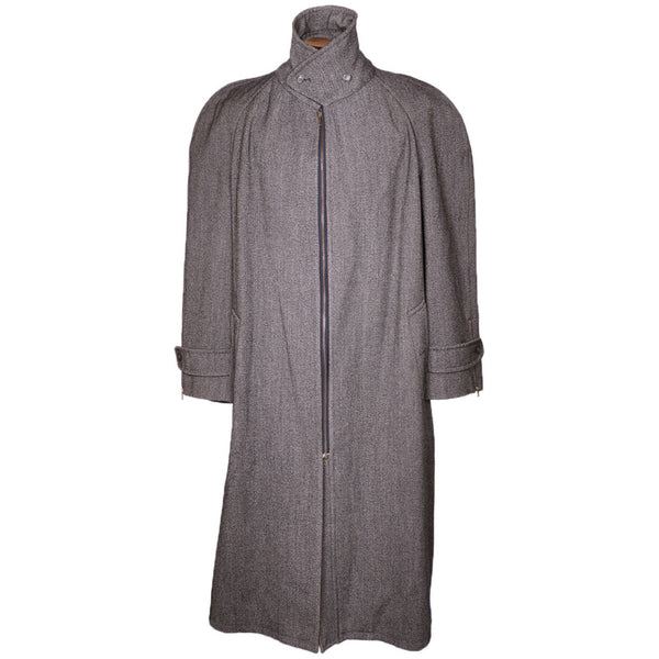 Vintage 1980s Moschino Mens Coat Wool Italian Trench Style Overcoat Size XL Long - Poppy's Vintage Clothing