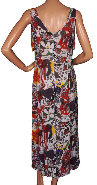 1980s Vintage Chiffon Dress Moschino - Wild Print