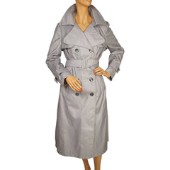 Vintage Trench Style Rain Coat 1975 Unused Grey Nylon Mr Michel Ladies Size L 14 - Poppy's Vintage Clothing