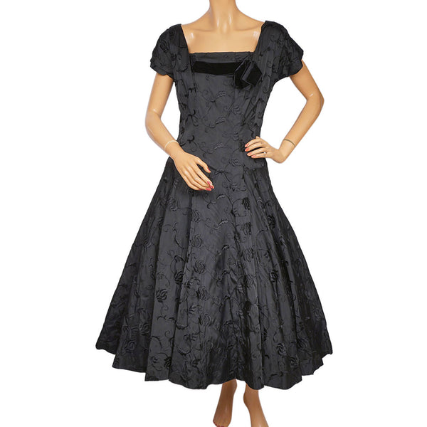1950s-Crinoline-Dress-Black-Taffeta-Murray-Bowen