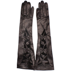 NOS-Black-Leather-Cutwork-Evening-Gloves