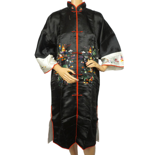 Vintage NOS 1950s 60s Dressing Gown Black Silk Embroidered Lounging Robe Hong Kong M L - Poppy's Vintage Clothing