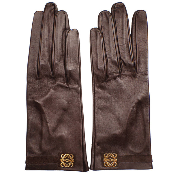 Vintage Loewe 1846 Brown Leather Gloves Unused Ladies Size 7.5 Spanish - Poppy's Vintage Clothing