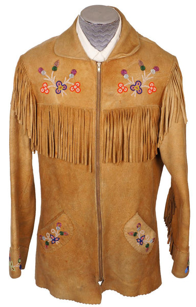 Vintage 1950s Native Indian Fringed Suede Leather Jacket - M - Poppy's Vintage Clothing