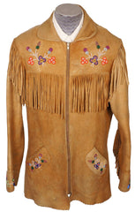 Vintage 1950s Native Indian Fringed Suede Leather Jacket - M