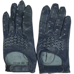 Vintage 1960s Navy Blue Leather Racing Gloves Ladies Size 6.5 - Poppy's Vintage Clothing
