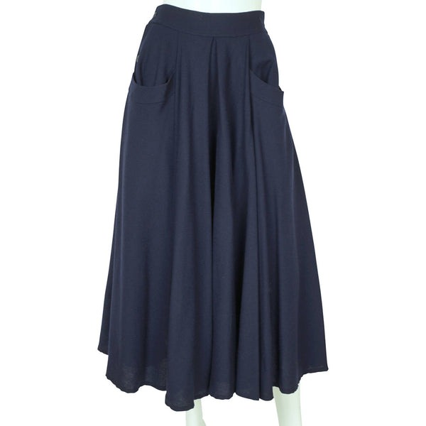 "Vintage 1980s Full Skirt Blue Wool Holt Renfrew Canada 27"" W - Poppy's Vintage Clothing"