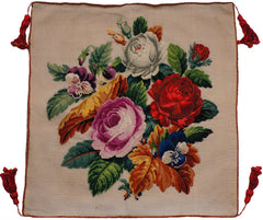 Antique Needlepoint Pillow or Cushion Cover Roses Floral Flower Bouquet - Poppy's Vintage Clothing