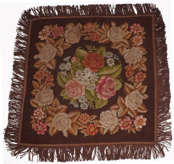 Antique Needlepoint Tablecloth or Table Cover Fringed Rose Flower Pattern 46""