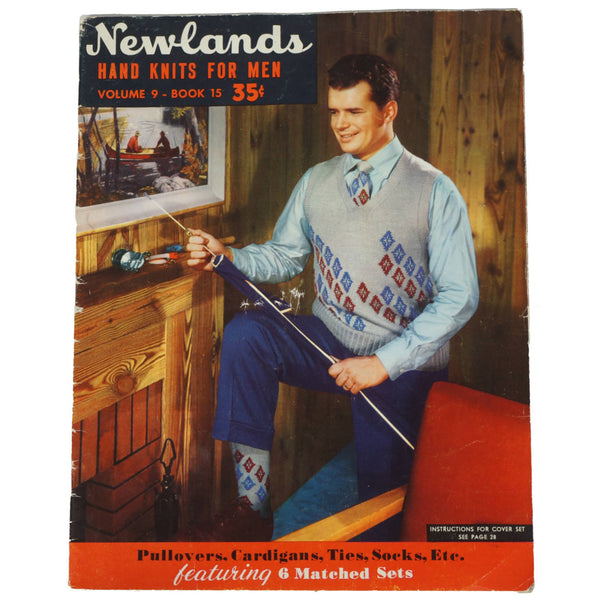 1940s Mens Socks Sweaters Pattern Instruction Book Newlands Hand Knits For Men - Poppy's Vintage Clothing