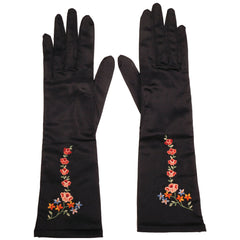 Vintage Neyret Paris Black Satin Long Gloves 1950s Ladies Size 7 - Poppy's Vintage Clothing