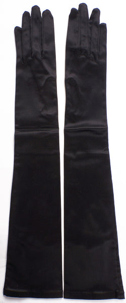 Vintage Neyret Black Satin Long Gloves